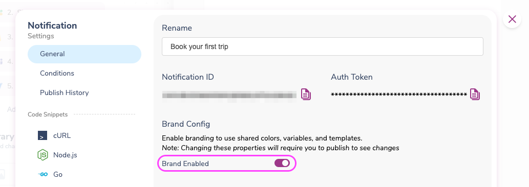 The Brand Config in screen in the notification settings is where you enable it to use email brands