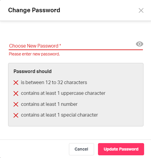 Changing password on Fyle
