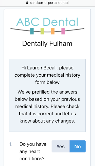 Dentally Medical History online start screen