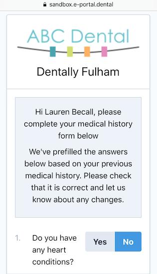 Dentally Medical History online start screen