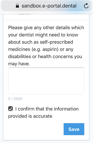 Dentally Medical History via SMS confirm questions answers