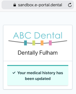 Dentally Medical History via SMS confirmation updated