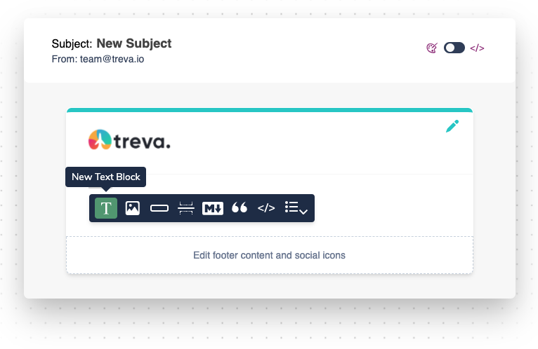 adding content with the toolbar.