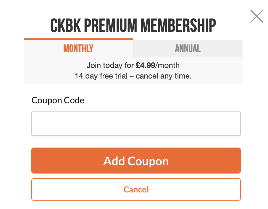 Screenshot showing form where coupon code can be added