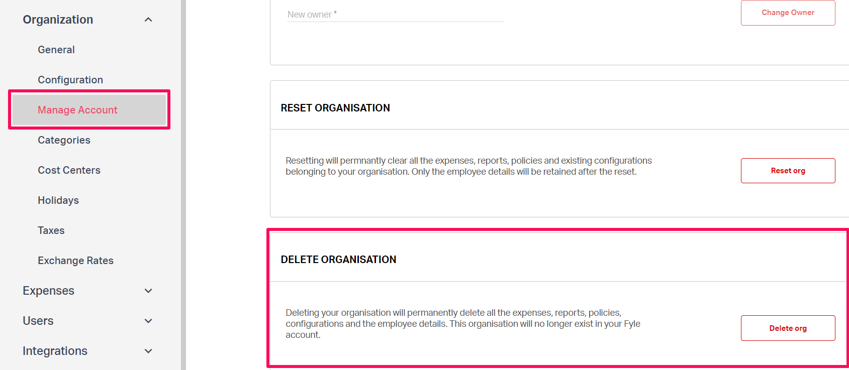Deleting organization on Fyle in the settings tab