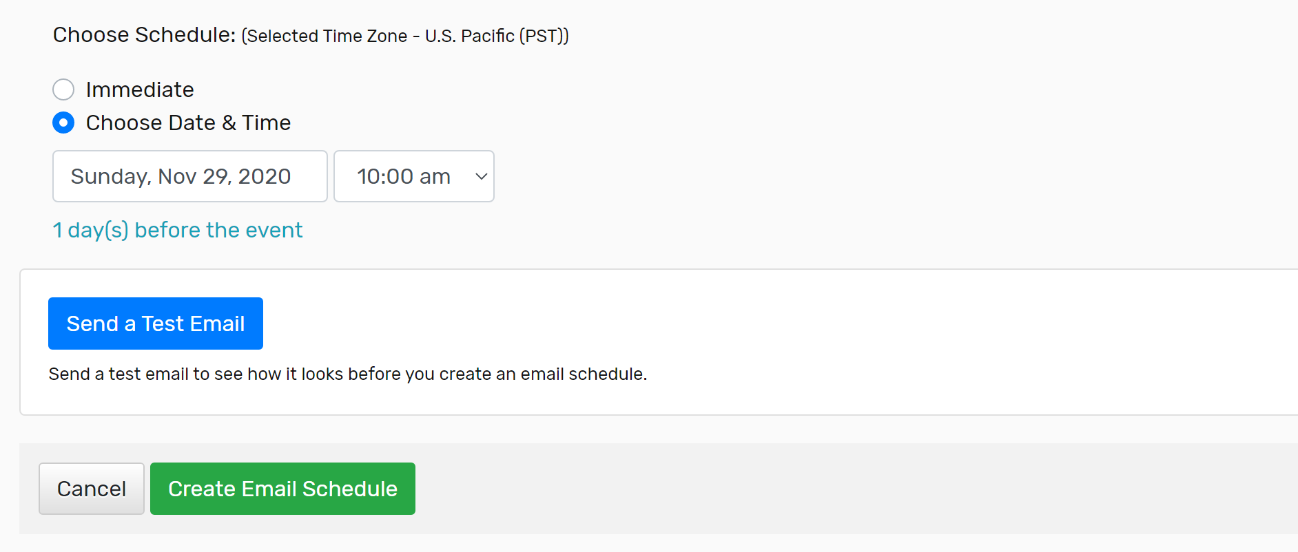 Example of scheduling an email