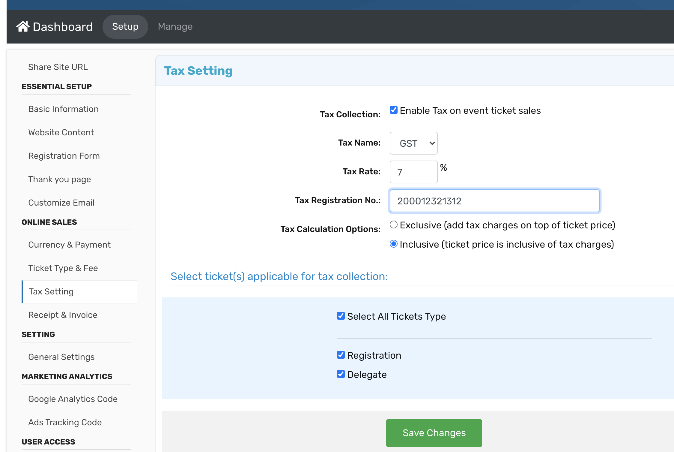 Example of How to set a tax setting