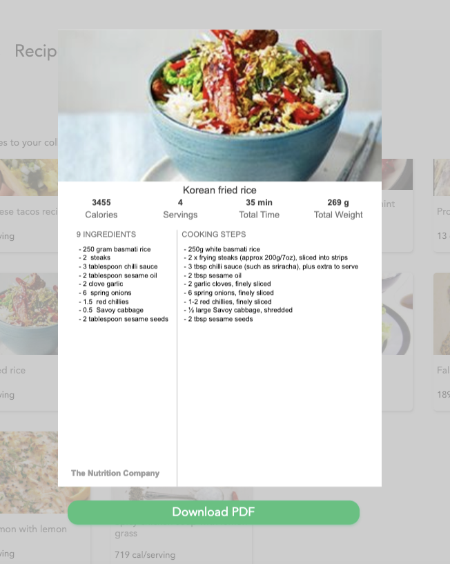 print recipe preview