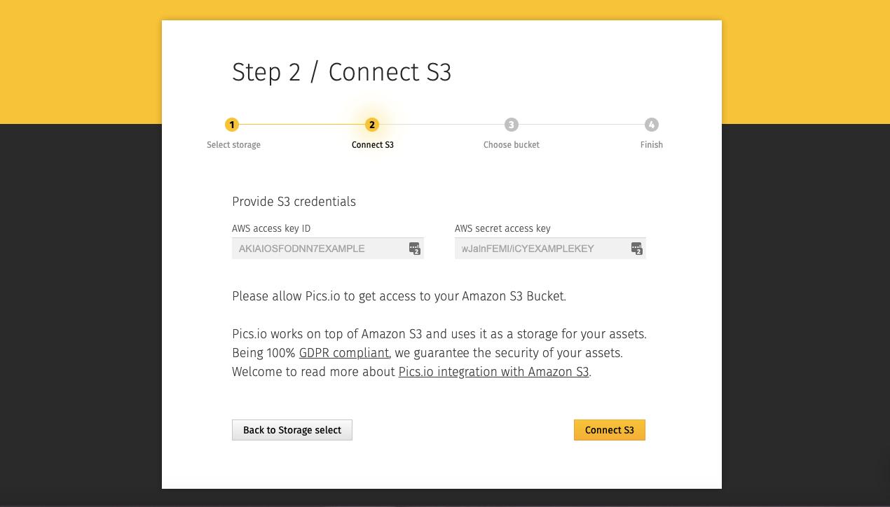 Connecting Amazon S3 storage