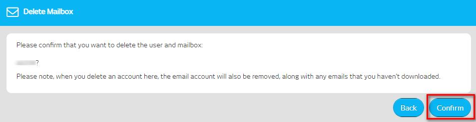 Delete Mailbox > Confirm