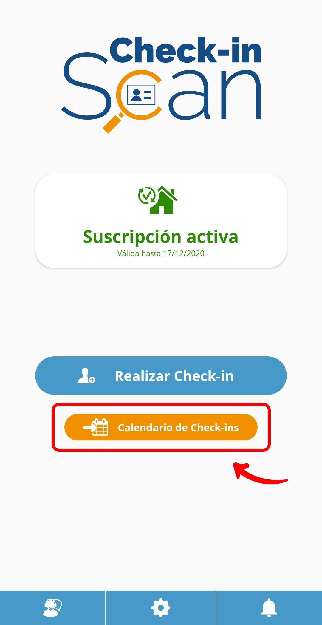 Check-in Scan app Calendario de Check-ins