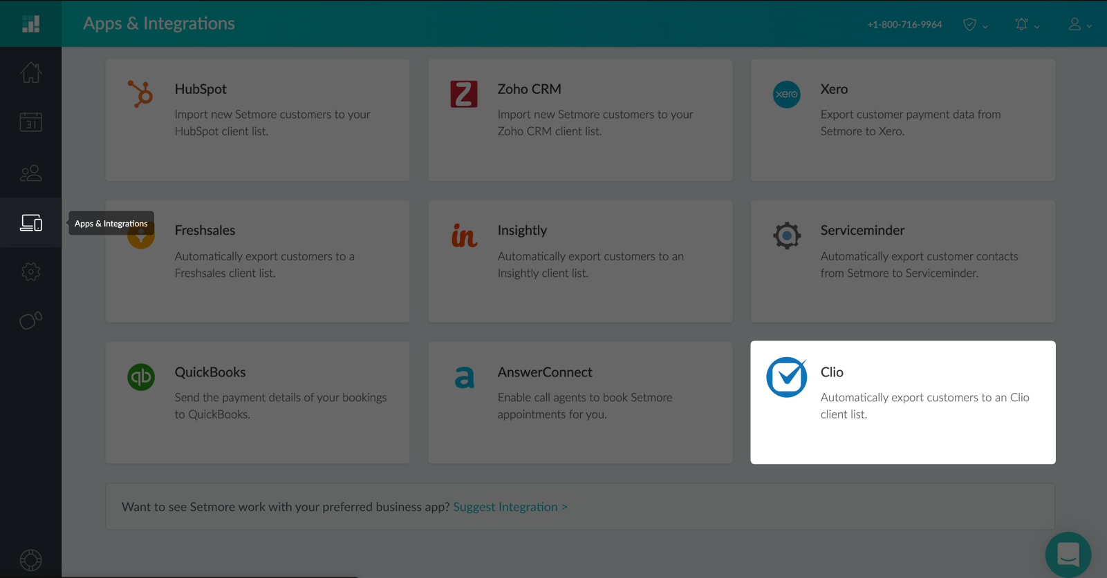 The Clio integration card in the Apps & Integrations menu