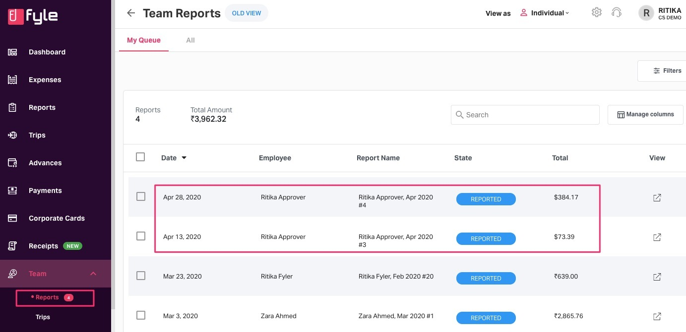 User's submitted report from another organization showing under primary org in the approver's account
