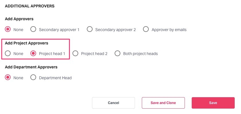 Adding Project Approvers in the Policy