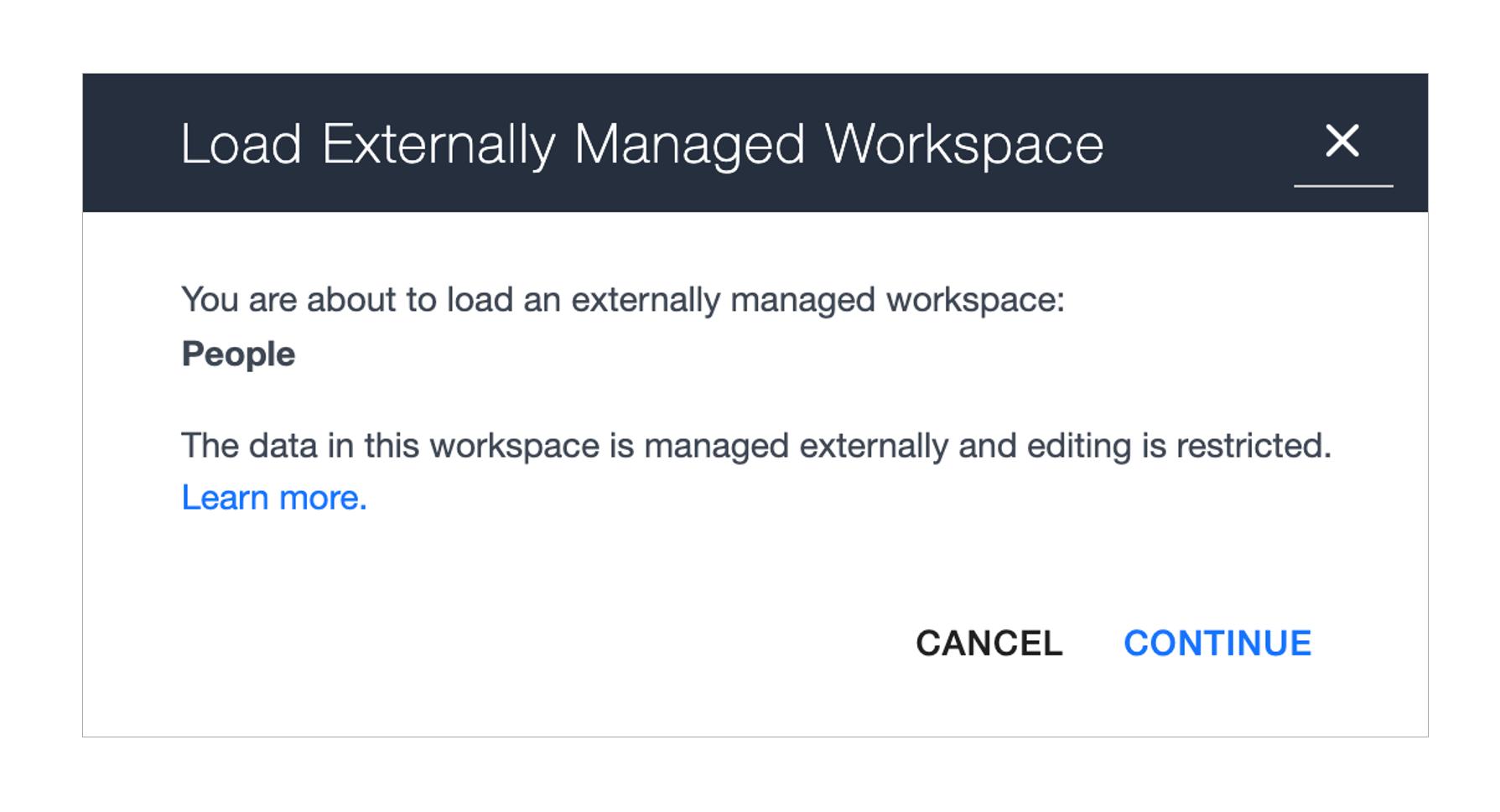 Ardoq load externally managed workspace