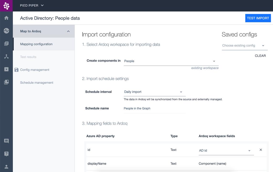Ardoq import configuration