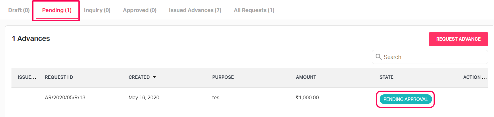 Sent to approver after resubmitting the advance request