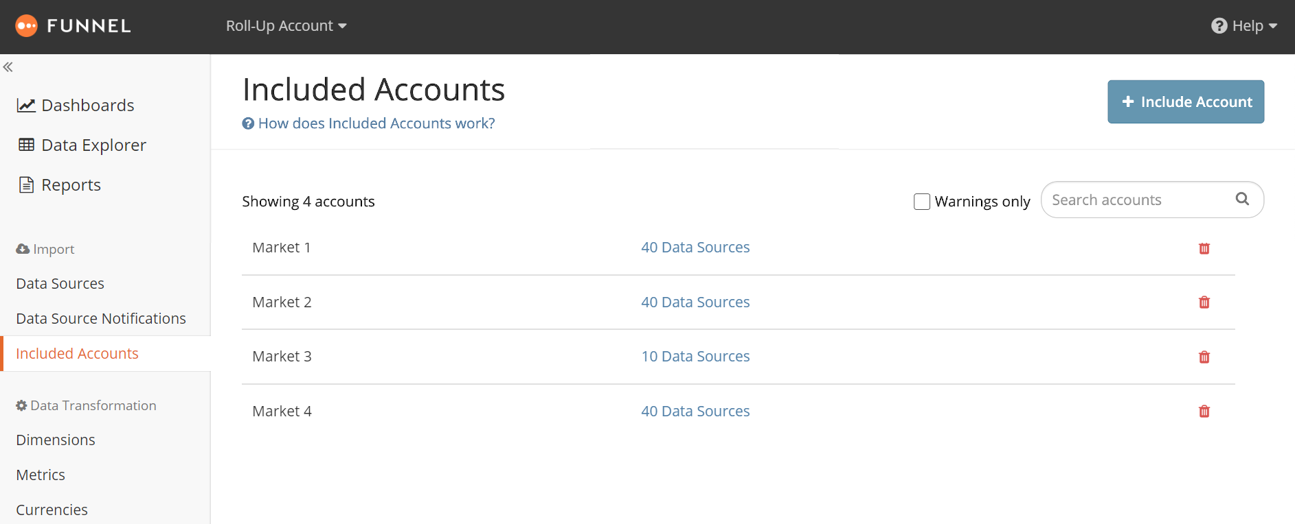 Included Accounts Overview showing four included accounts