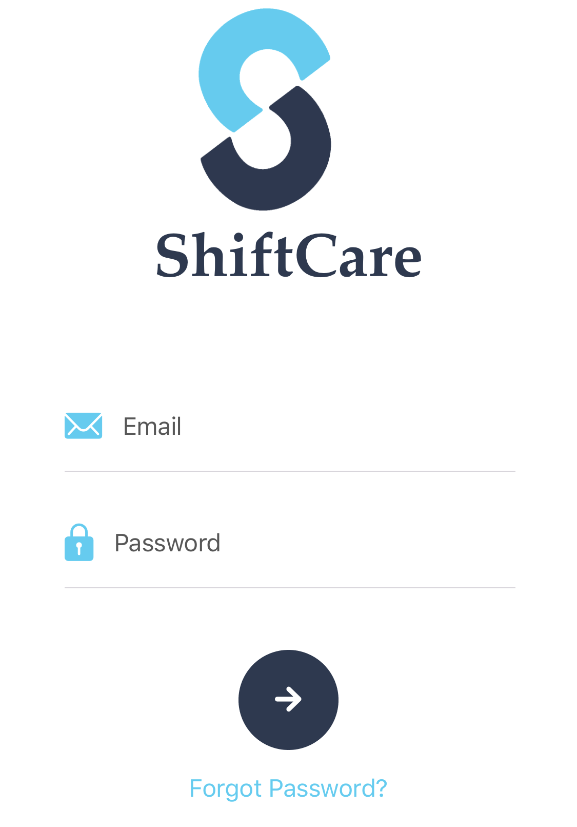 ShiftCare iOS App login view