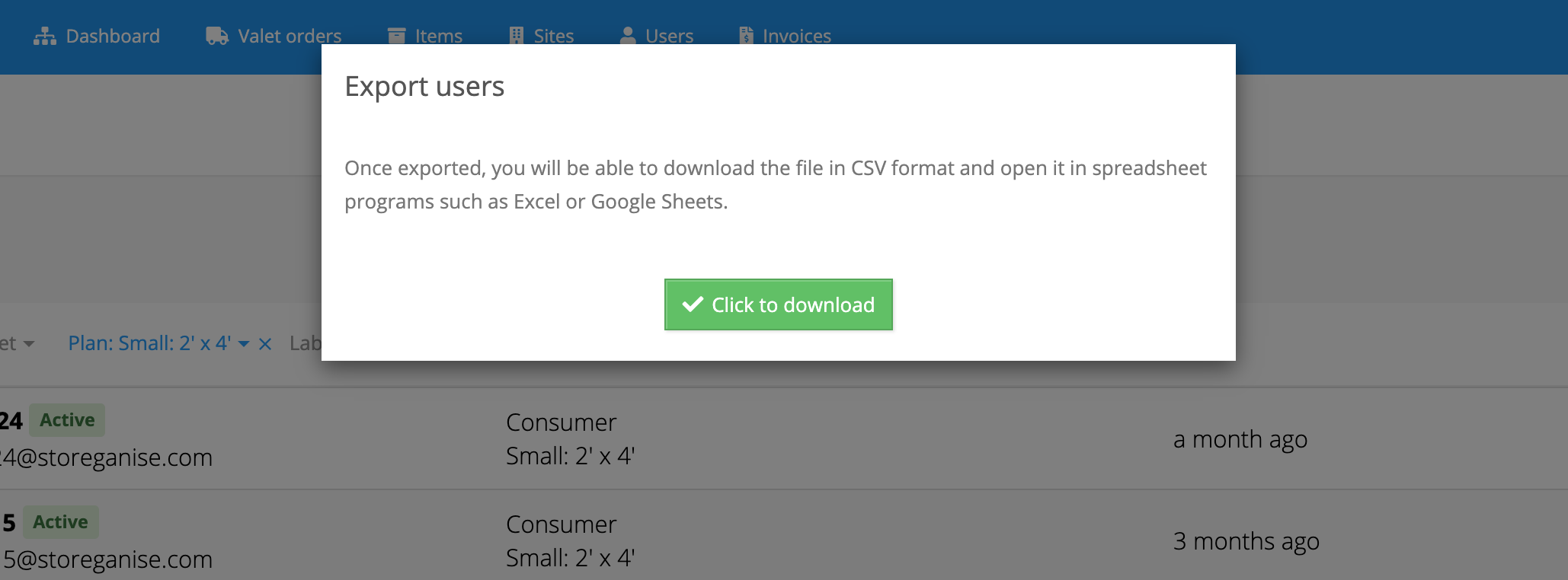 button to export users and generate csv file