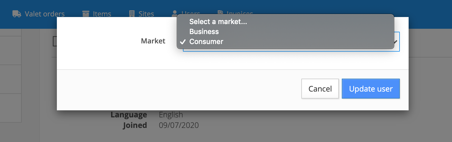 select market user is assigned to, either business or consumer