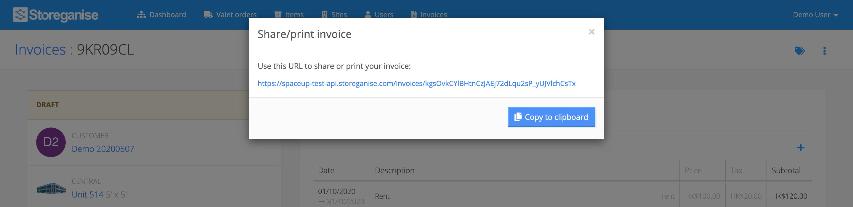 Share / print an invoice