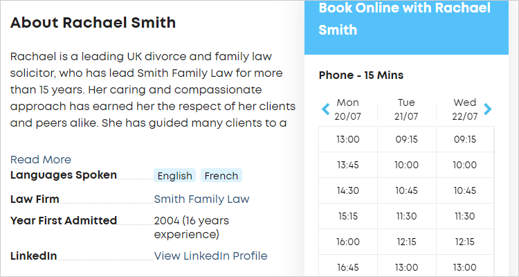 LawTap My Profile - Your Practice preview options in About section of profile