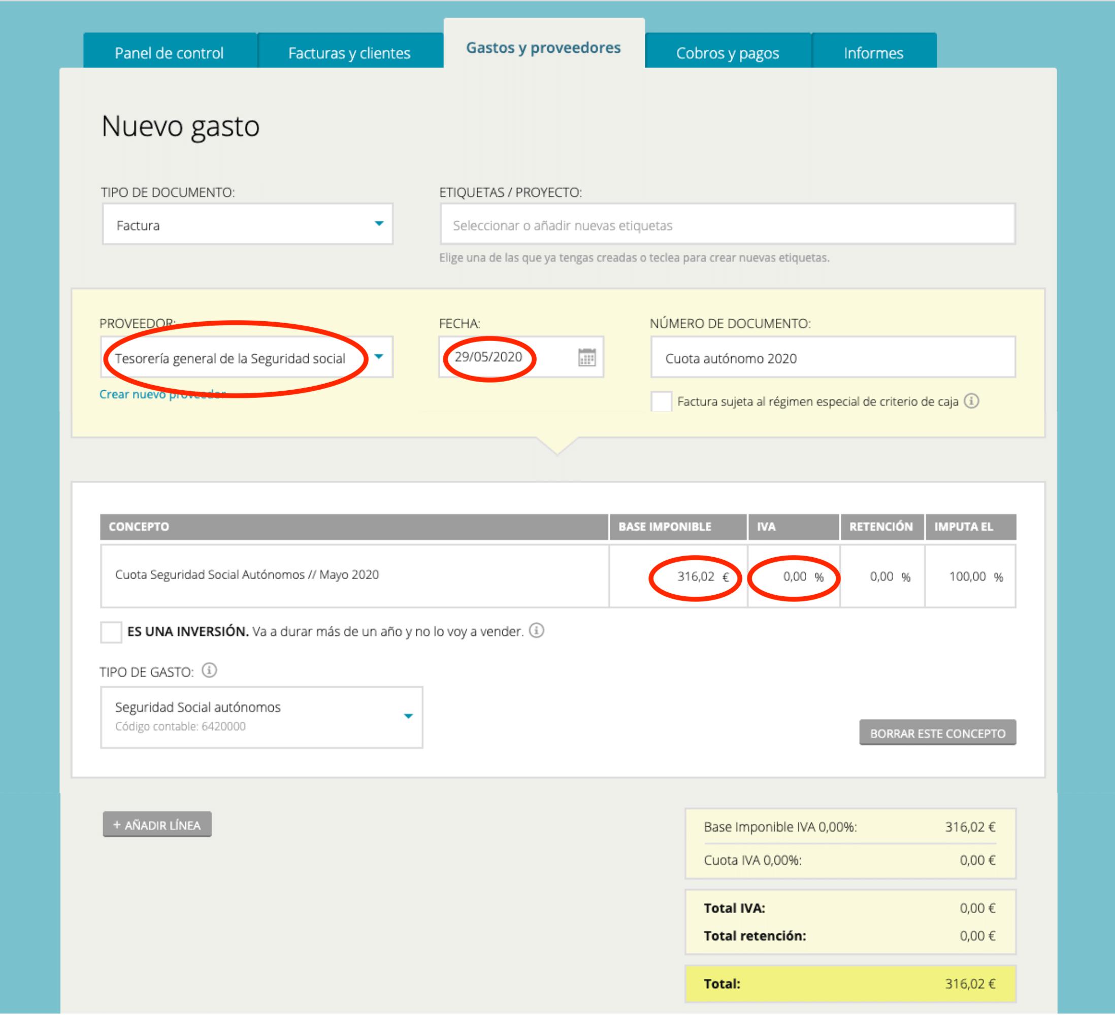 Registrar cuota autónomos