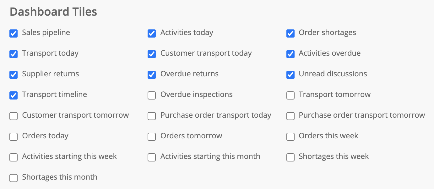 List of dashboard tile checkboxes.