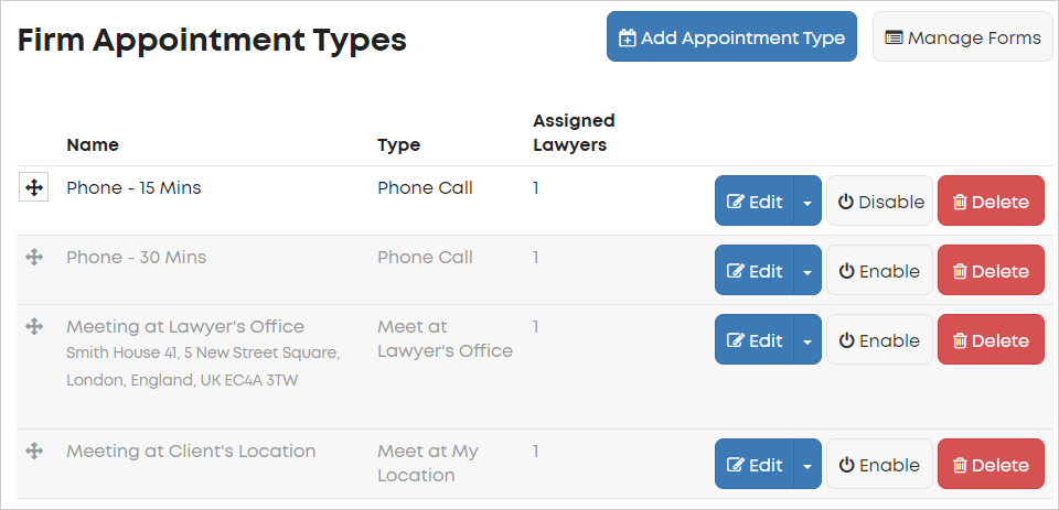 LawTap Firm Appointment Types area