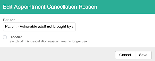 Dentally Edit appointment cancellation reason