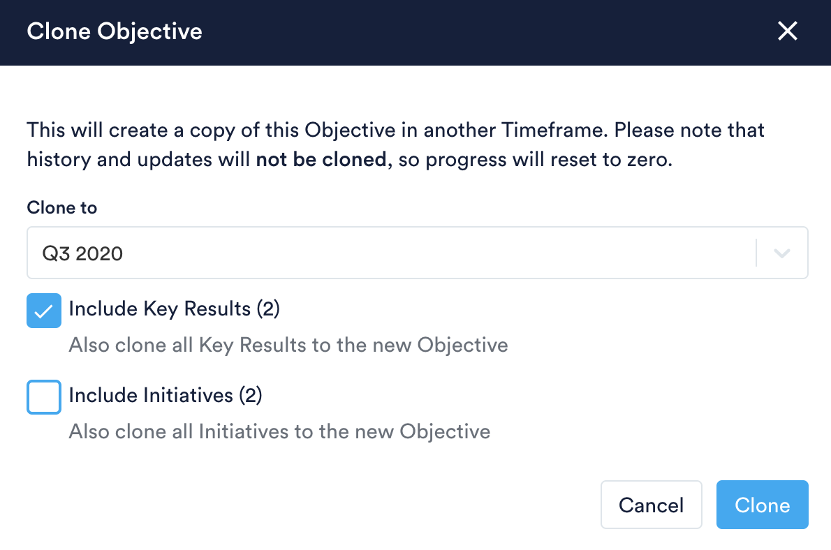 Include Key Results and/or Initiative checkboxes when cloning Objective