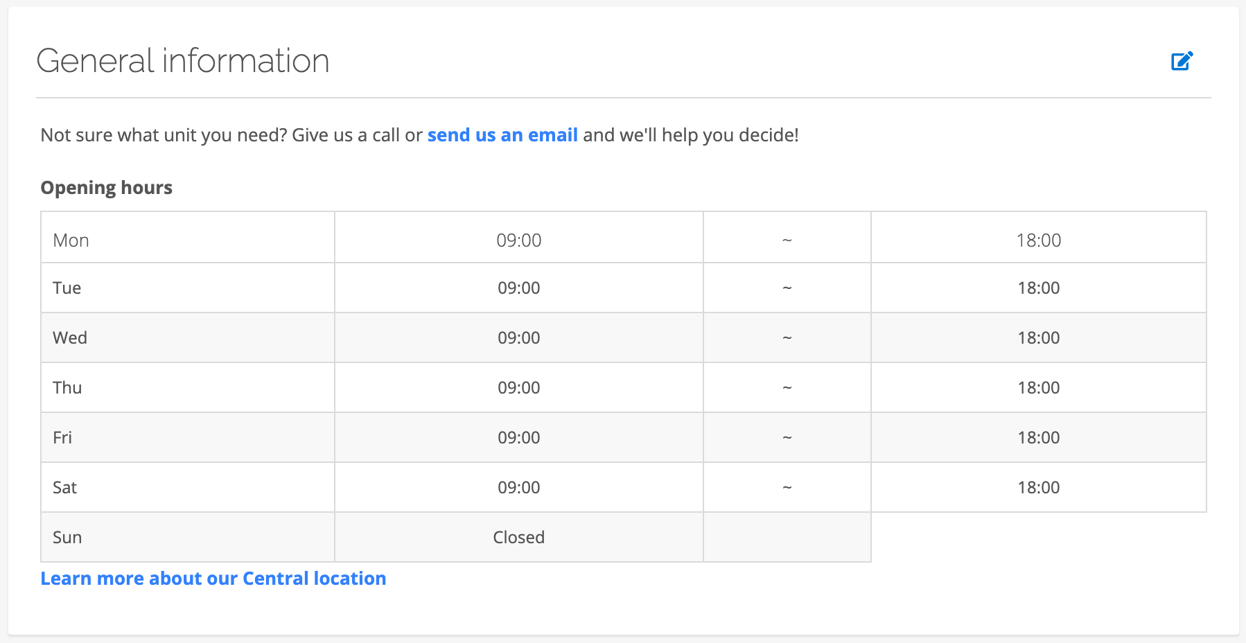 edit site general information for customer view