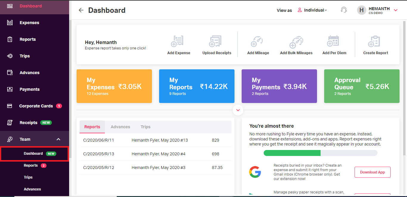 Access the dashboard for Project & Department head from Teams option