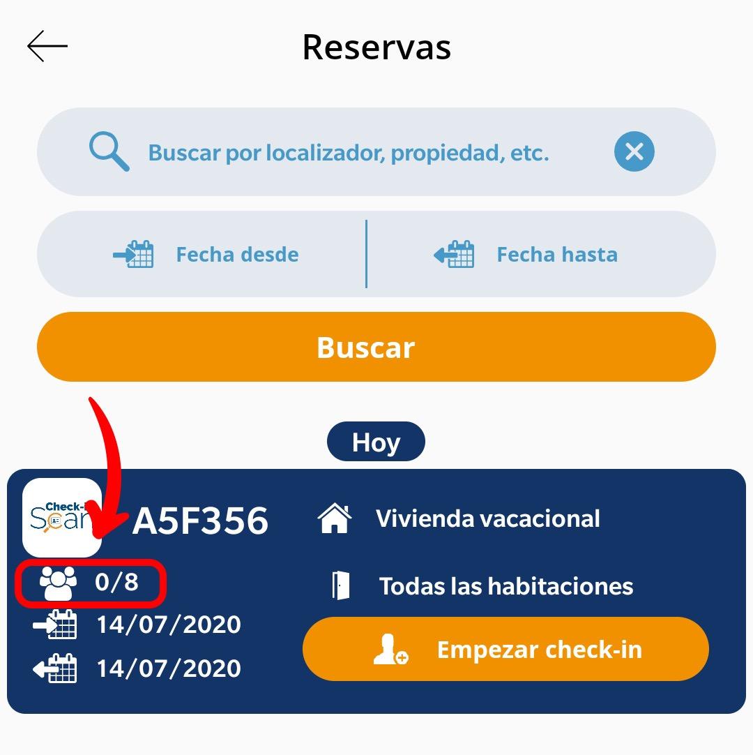 Check-in Scan app Calendario de Check-ins Reservas