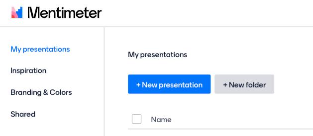 New Presentation button