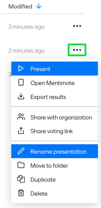 Presentation action menu