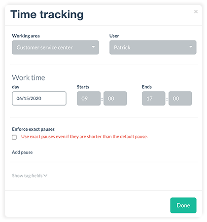Manually creating a time tracking