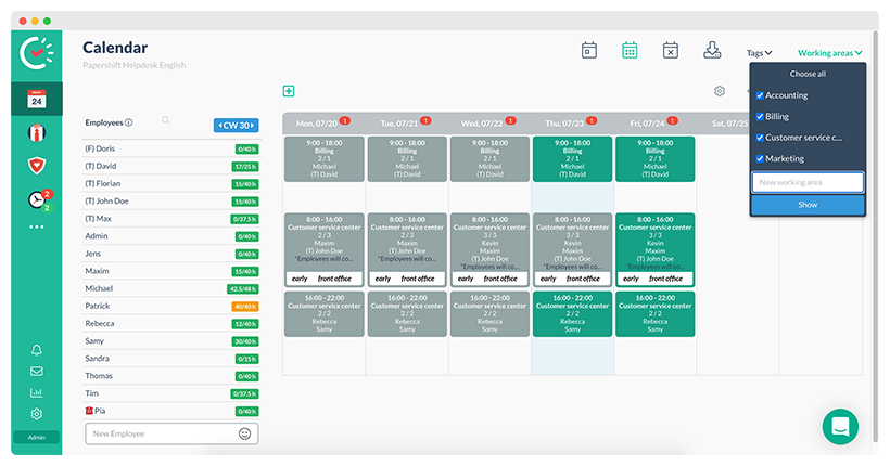 Adding a working area in the calendar