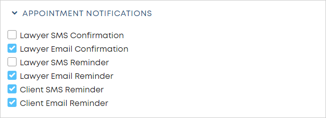 LawTap APPOINTMENT NOTIFICATIONS section