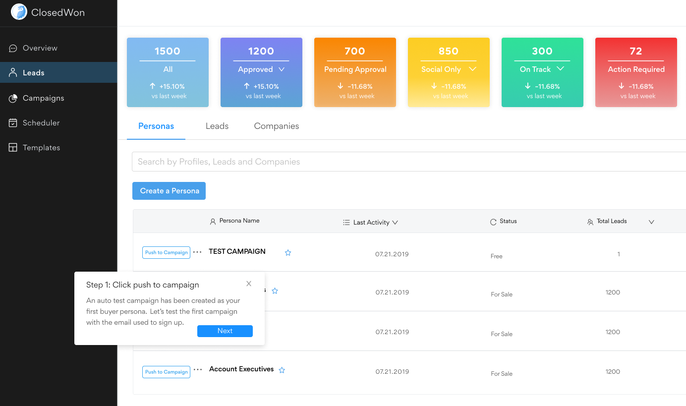Persona Dashboard - Choose your target market
