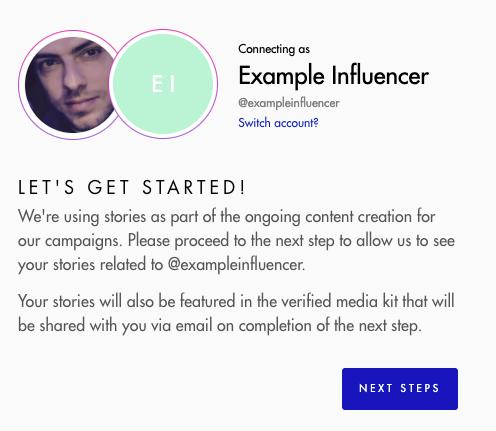 Influencer gateway flow - step 1