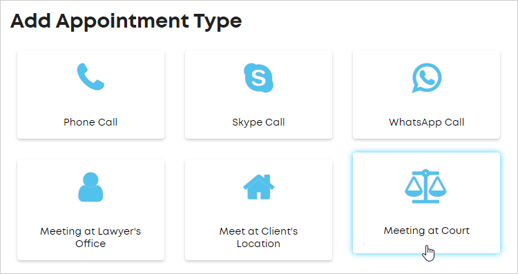 LawTap Add Appointment Type - select type