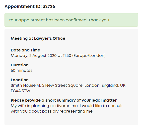 LawTap appointment confirmation notification