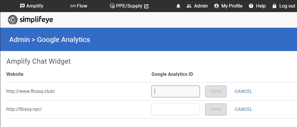 Image containing the Google Analytics settings page within the Simplifeye Dashboard