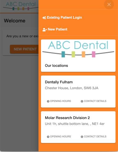 Dentally Patient Portal Multi-site selector