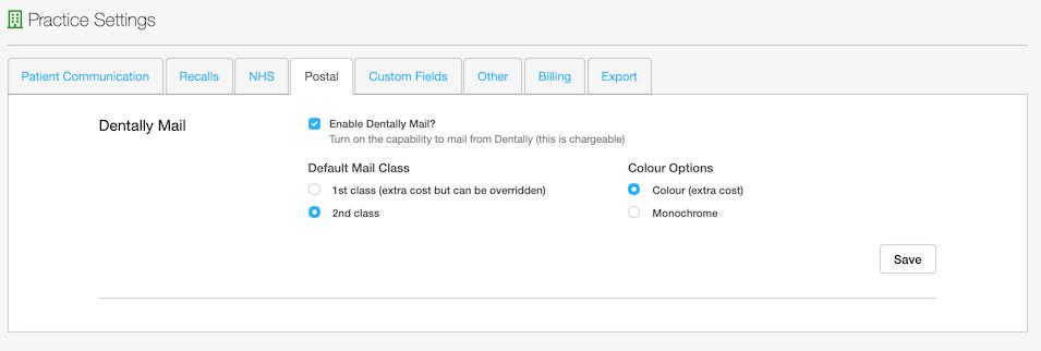 Dentally Practice Settings - Custom Fields