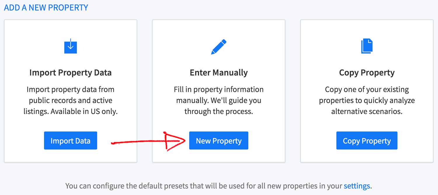 New wholesale property wizard - enter manually button