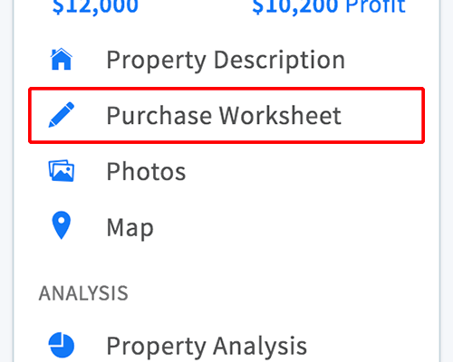 Purchase worksheet link in property menu