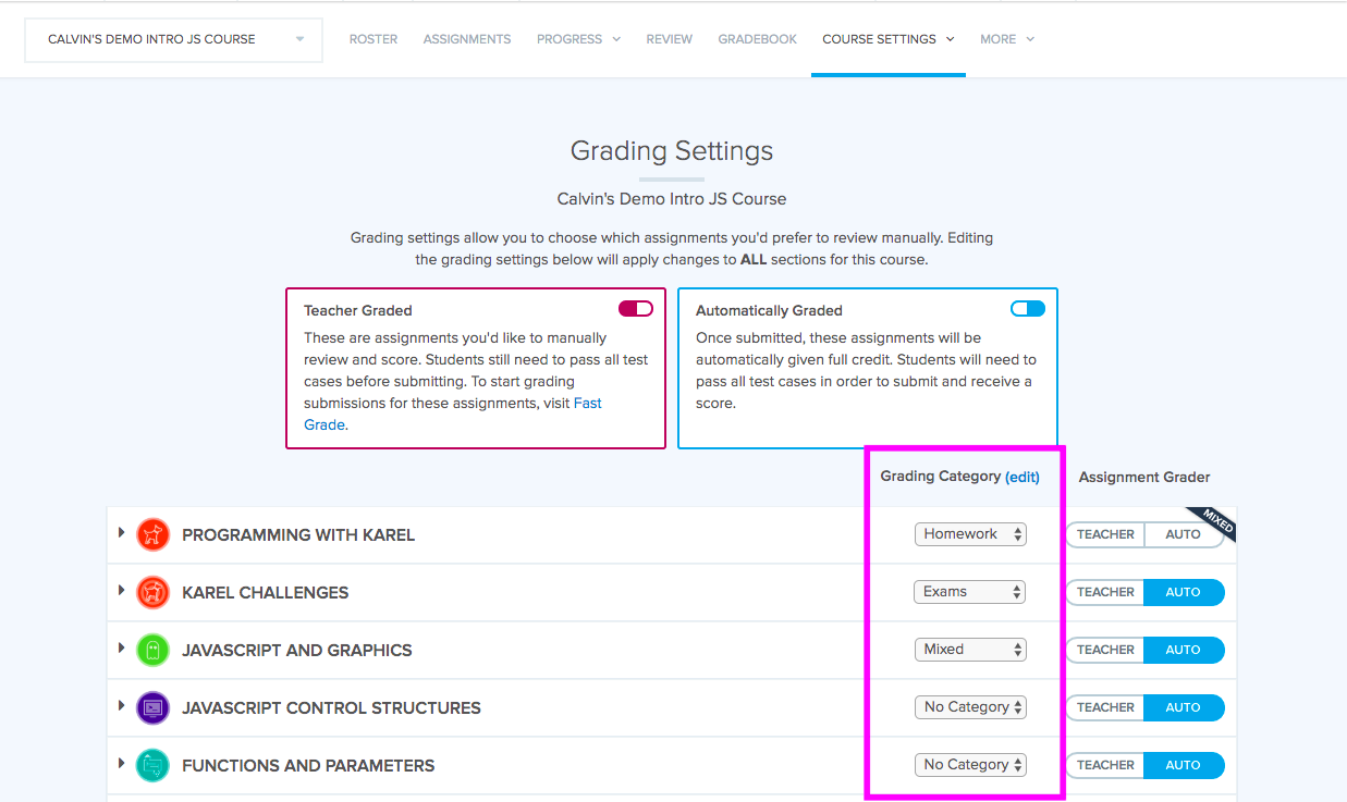 The Grade settings page has a Grading Category Column that you can adjust